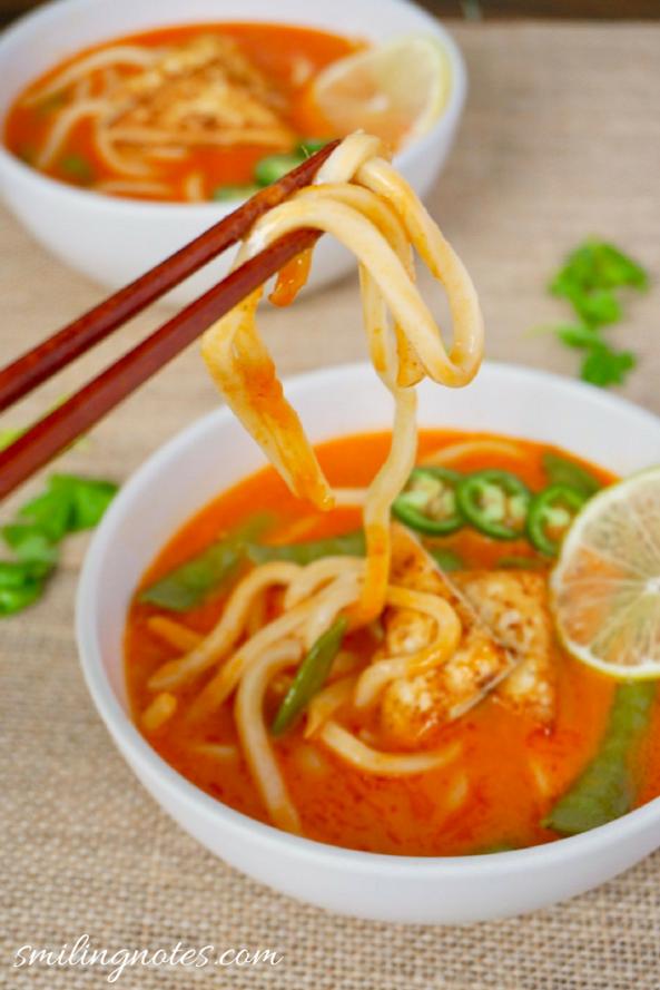 Thai Coconut Curry Veggie Noodle Soup
