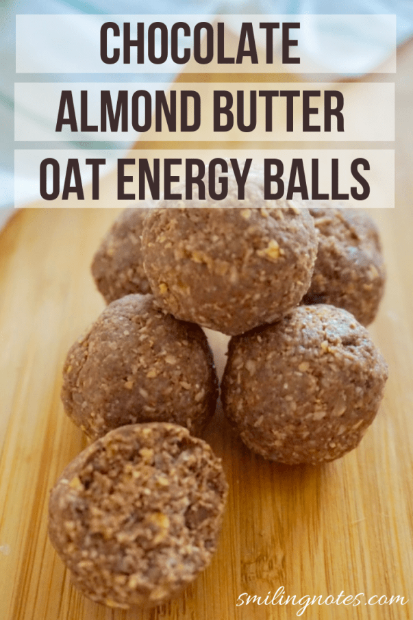 Chocolate Almond Butter Oat Balls - These delicious & decadent Chocolate Almond Butter Oat Energy Balls are made using just 5 ingredients and are ready in under 10 minutes.