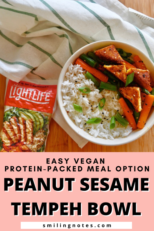 Looking for a vegan, plant-based protein-packed meal option? This Peanut Sesame Tempeh Bowl is a perfectly easy and protein-packed option for lazy days.