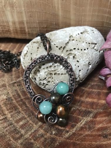 Tyrkis håndlavet perle halskæde