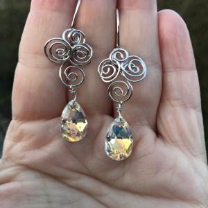 Swarovski krystal sølv ørehængere