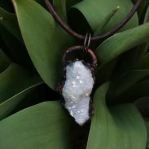 Electroformet lille hvid krystalhalskæde