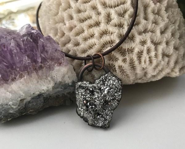 Electroformet sølvfarvet krystalhalskæde
