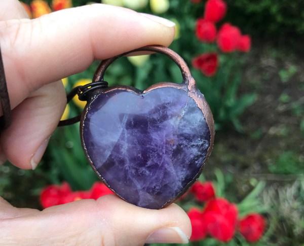 Ametyst hjertehalskæde