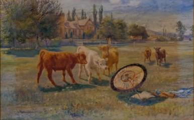 Calves Fascinated by a Parasol, Joeseph Denovan Adam R.S.A, R.S.W. (1842-1896)