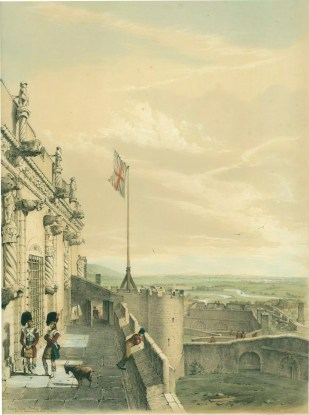 Part of James V Palace. Stirling Castle. with the windings of the Firth of Forth