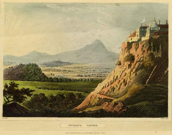 View of South Side of Castle with Ben Ledi in distance, 1804, James J Merigot