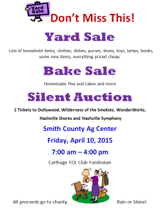 FCE Yard and Bake Sale