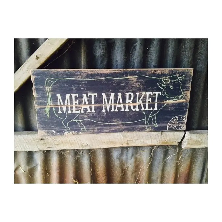 Meat Market Wooden Wall Sign In Vintage Antique For Man Cave Bar Ideas