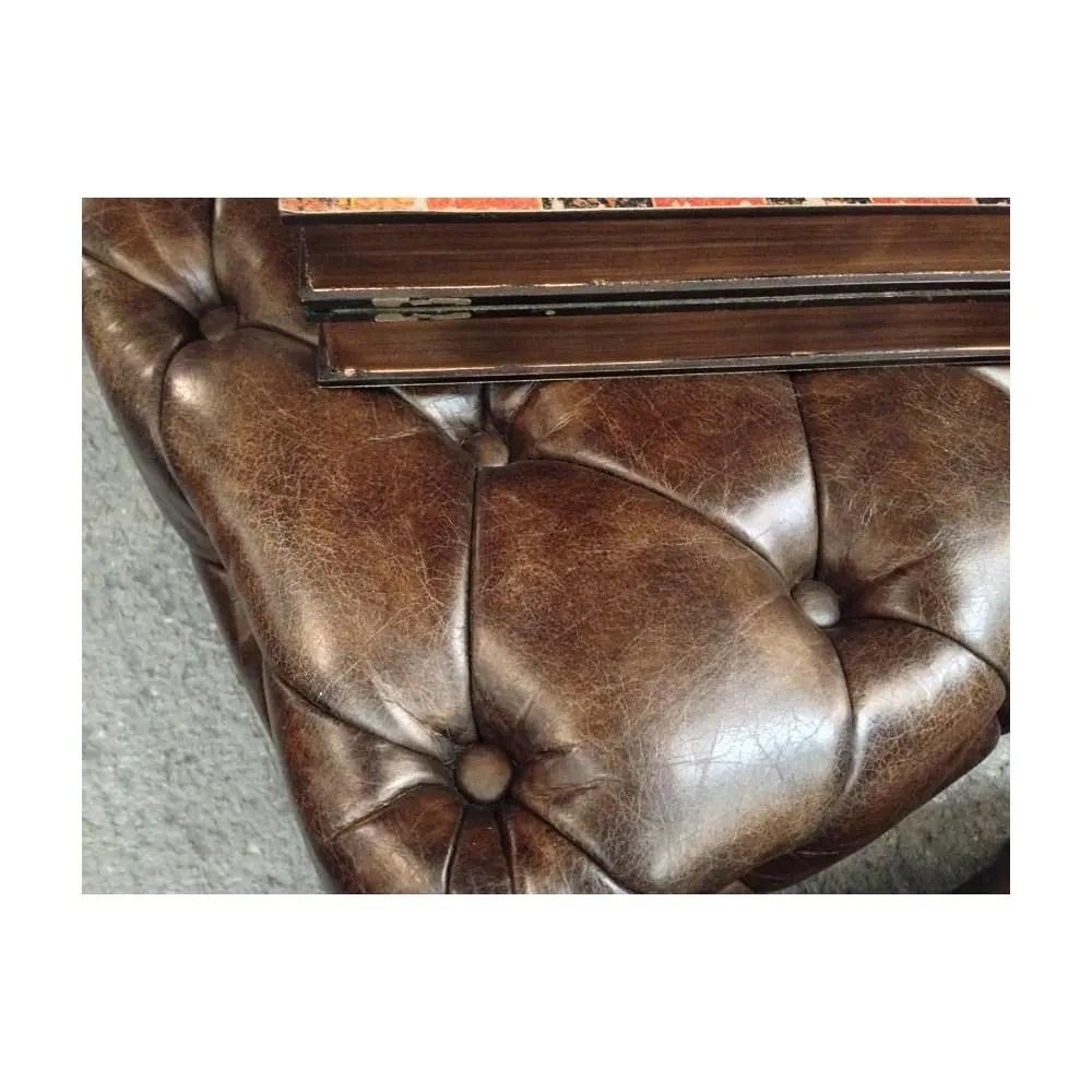 Cream Leather Footstool Storage