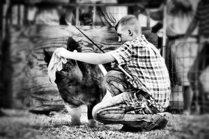 Black and white vintage photo of a boy and his pig