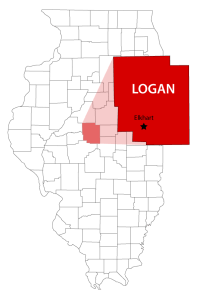 Map of Smith Family Farms Location in Logan County Illinois