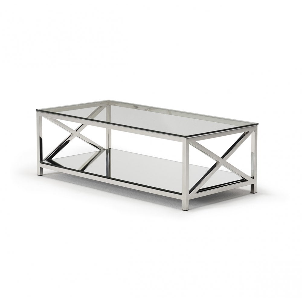kesterport amiri glass coffee table clear glass polished steel frame mirror shelf