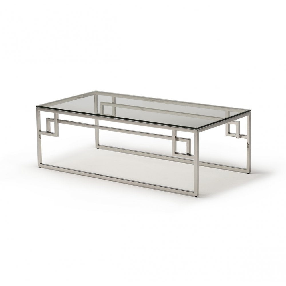 kesterport cendrine glass coffee table clear glass polished steel frame