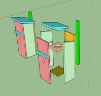 bouwtekening in Sketchup. Jammer dat mijn 3D-printer niet in hout kan printen.