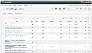 Joomla 2.5 Article Manager window - web page user interface