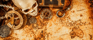 Stock photo pirate skull and map