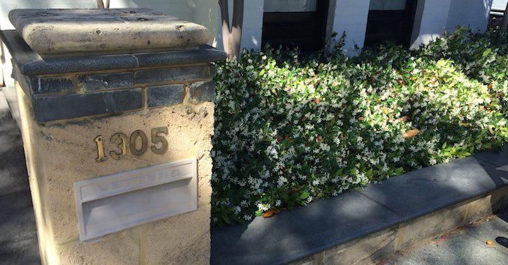 Sandstone mailbox on Hay Street in West Perth