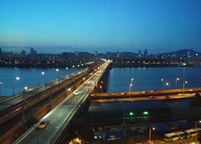Bridge near Oksu train station in Seoul