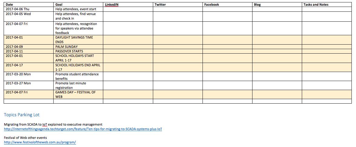 Social Media Editorial Calendar - identifying holidays