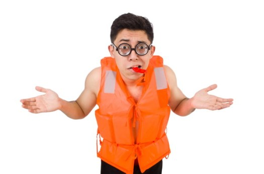 Confused and wearing a lifejacket
