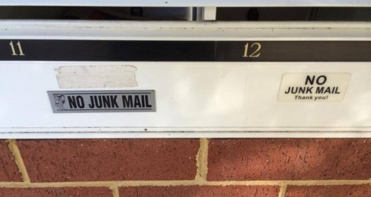West Perth mailboxes no junk mail signs