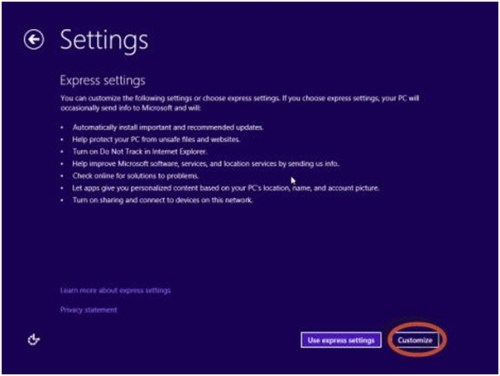 Windows 8 Express Settings
