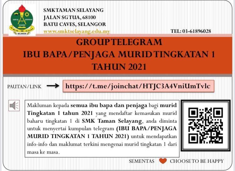 Makluman: Telegram Khas Ibubapa/Penjaga Murid Tingkatan 1 2021