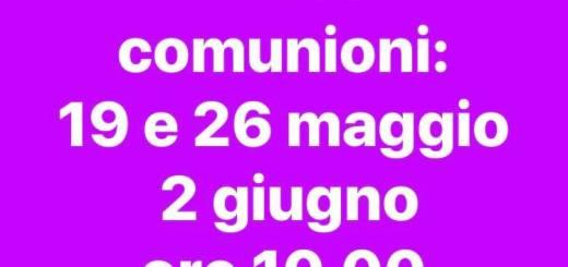 Date delle Prime comunione 2019
