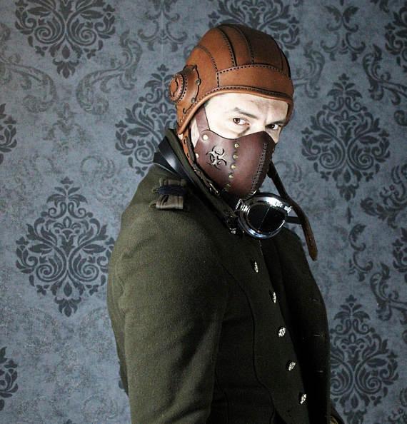 Aviator Hat Steampunk Helmet Leather Cap By