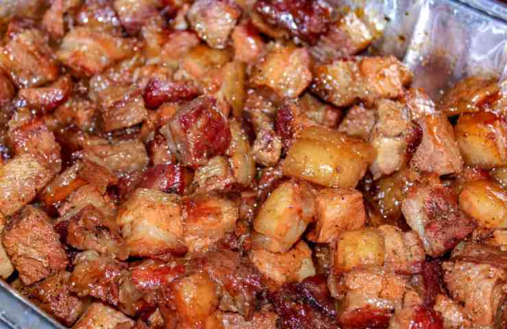 Pork Belly Burnt Ends getting sauced