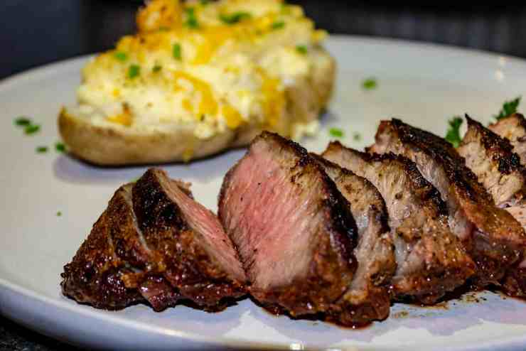 reverse seared steak with double baked potato