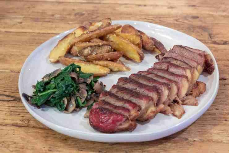 Reverse Seared Steak - Spinach and Mushrooms - Garlic Fingerling Potatoes