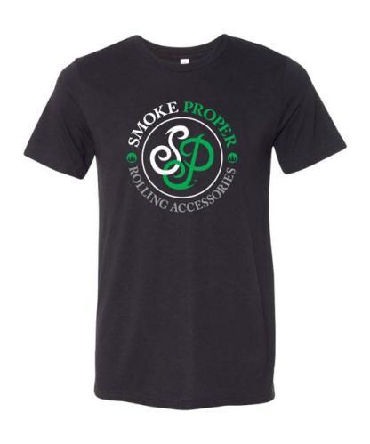 Black t-shirt white/green logo | Smoke Proper Rolling Accessories