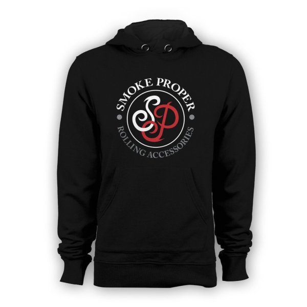 Black hoodie white/red logo | Smoke Proper Rolling Accessories