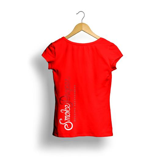 Girls Red T-shirt (back) white/red logo | Smoke Proper Rolling Accessories
