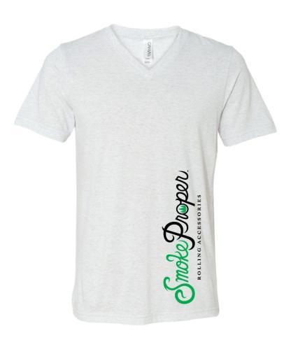 White V-neck white/green logo detail | Smoke Proper Rolling Accessories