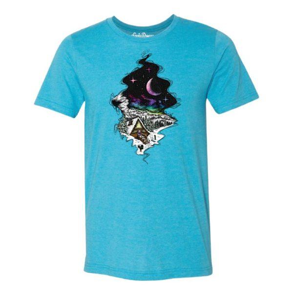 Aqua Blue - Smoke Proper T-shirt Cabin Fever Design (Front)