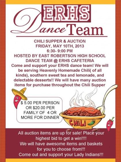 Dance team chili flyer