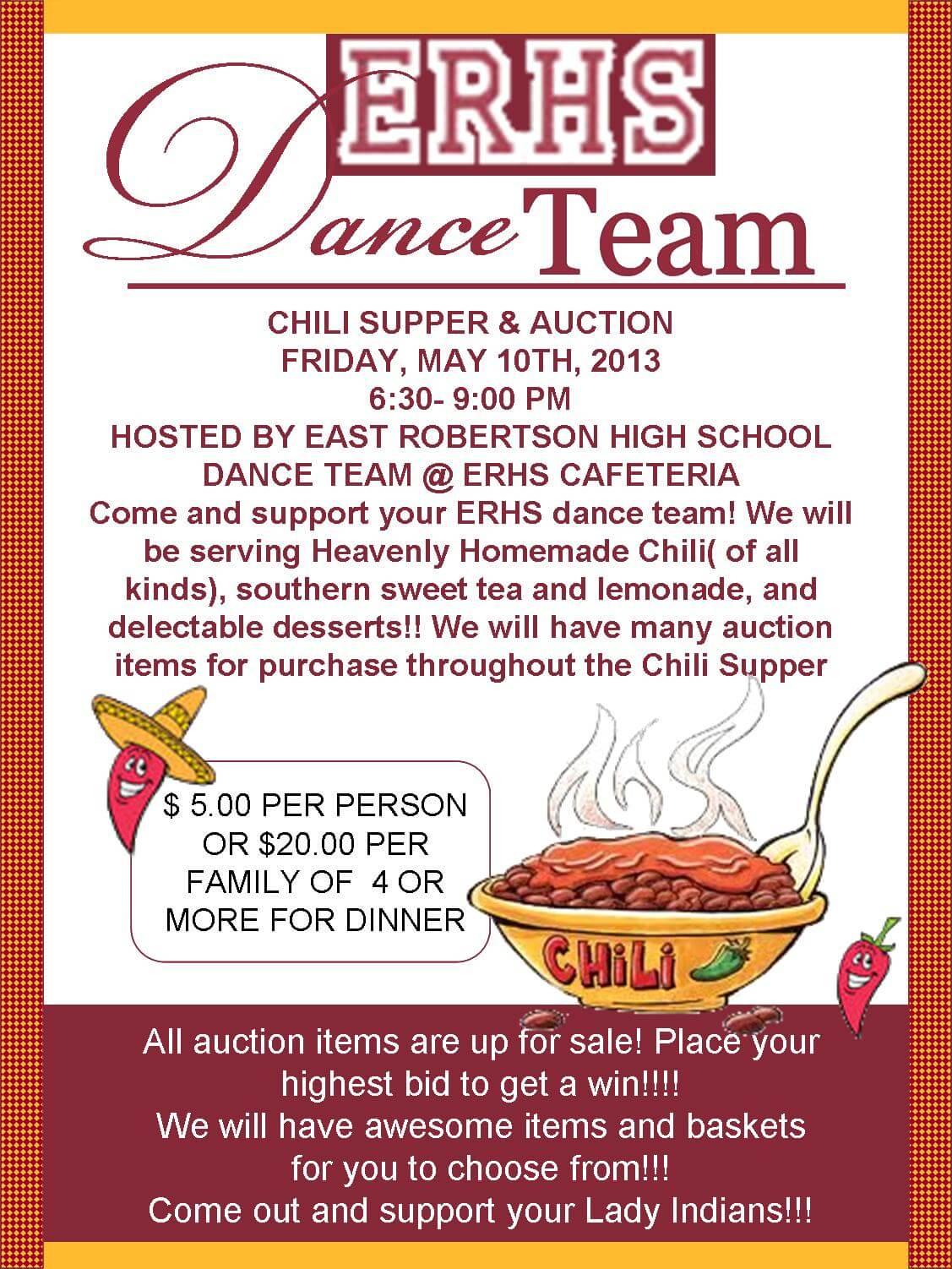 Erhs Dance Team Chili Amp Supper Auction