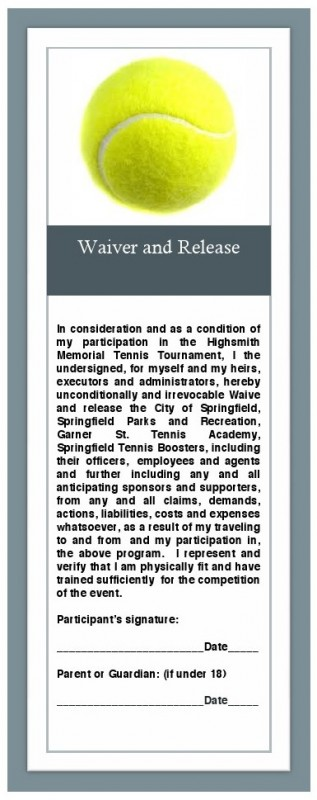 tennis waiver release