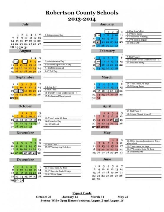 School calendar 2013-2014