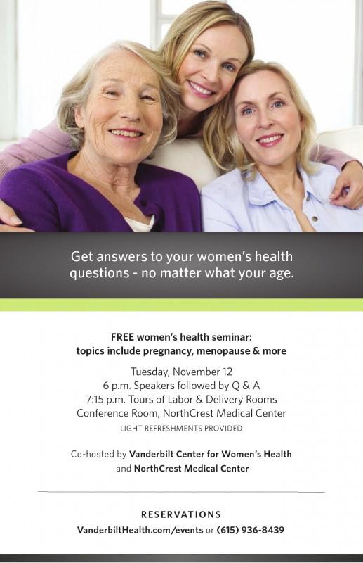 Womens Health Seminar flyer Nov 12