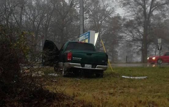 truck sign wreck