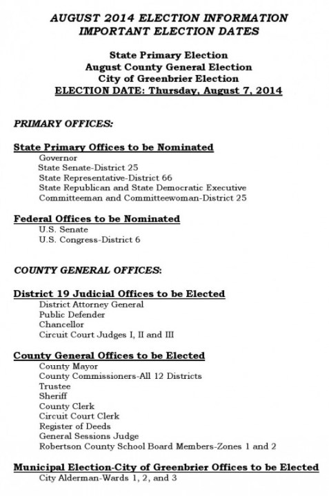 Election dates 2014 a