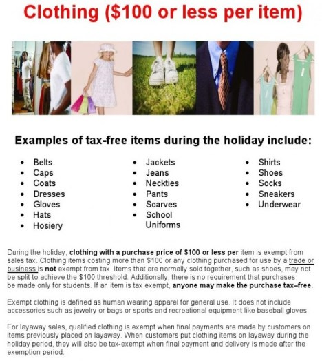 clothing tax holiday a