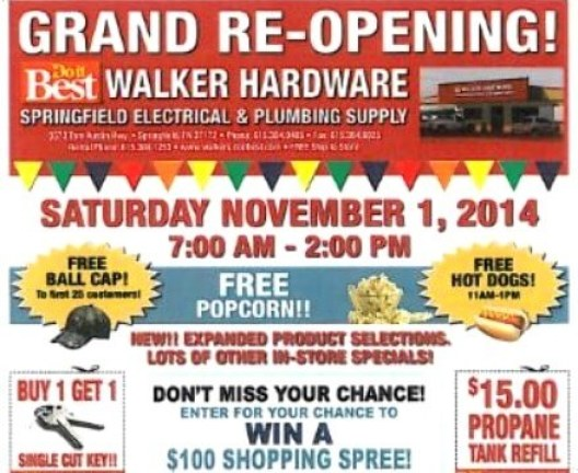 walker Hardware Grand reopening
