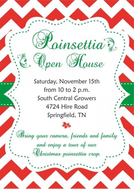 Christmas poinsettia Open House flyer 2014