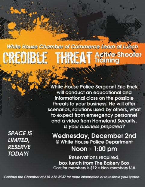 White House chamber business threat seminar flyer