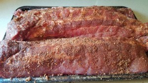 Pork Ribs given a heavy coat of dry rub before wrapping!
